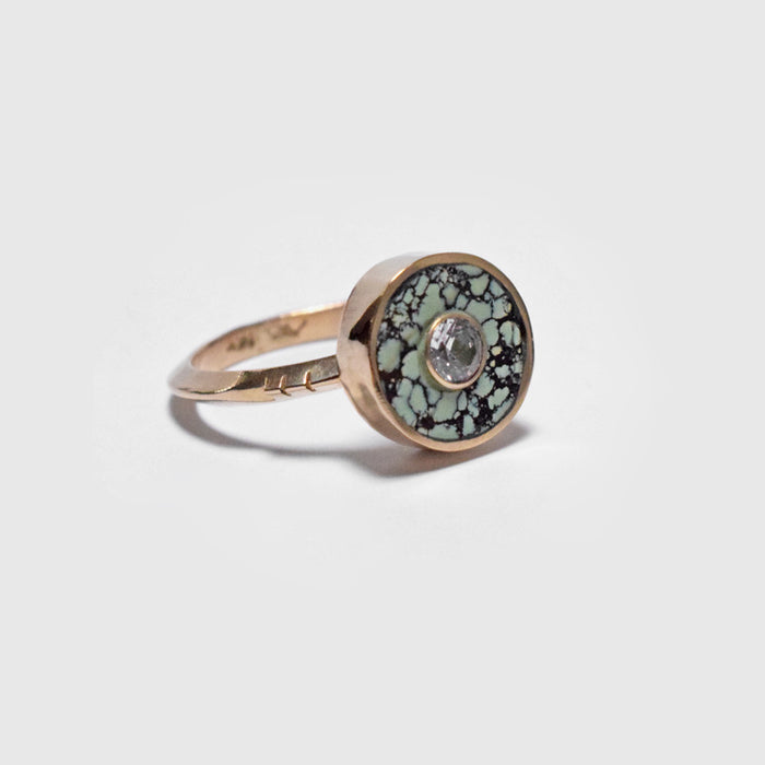 Young in the Mountains Ethically-Made Fine Jewelry Ring with 14k gold, chrysocolla, and white sapphire - Collyer's Mansion