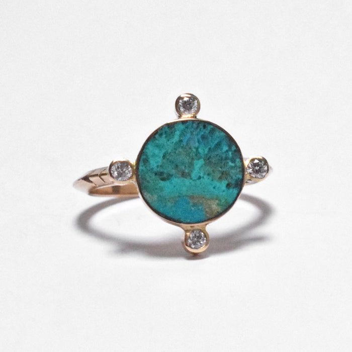 Young in the Mountains Ethically-made Fine Jewelry Ring with 14k gold, chrysocolla, and white diamond - Collyer's Mansion