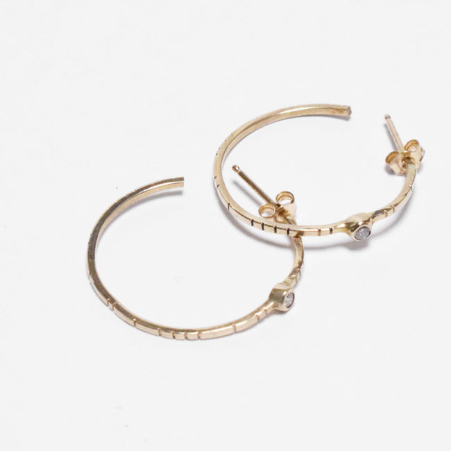 Young in the Mountains Ethically-Made Fine Jewelry Hoop Earrings with 14k gold and white diamonds in trendy hoops - Collyer's Mansion