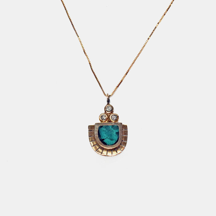 Young in the Mountains Ethically-Made Fine Jewelry Necklace with 14k gold, chrysocolla, and white diamond - Collyer's Mansion