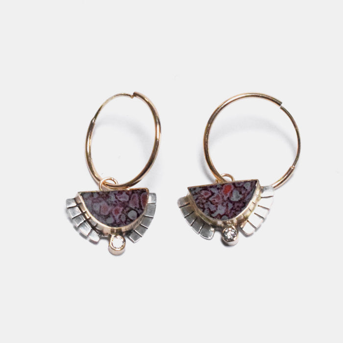 Young in the Mountains Ethically-Made Fine Jewelry Hoop Earrings with dino bone and 14k gold and white diamonds with moon and halo shape - Collyer's Mansion