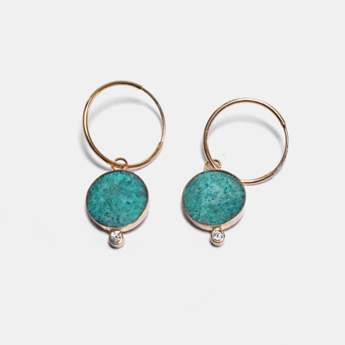 Young in the Mountains Ethically-Made Fine Jewelry Hoop Earrings with chrysocolla and 14k gold and white diamonds with round shape - Collyer's Mansion