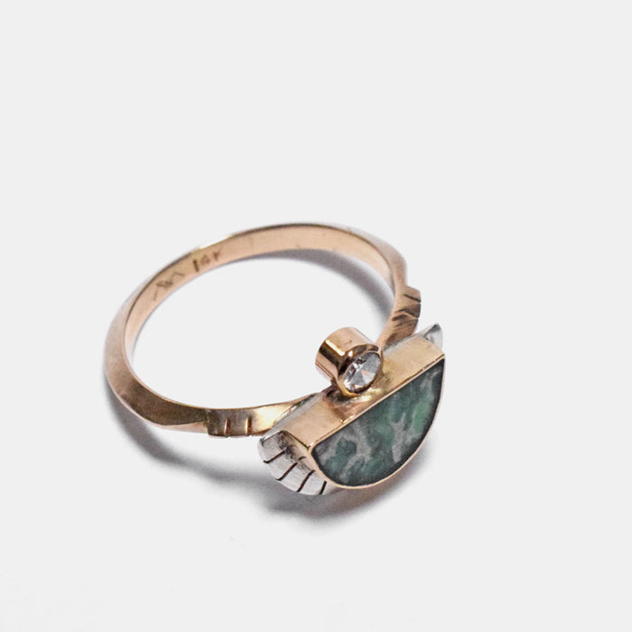 Young in the Mountains Ethically-Made Fine Jewelry Ring with 14k gold, sterling silver, variscite, and white diamond - Collyer's Mansion