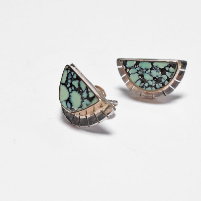 Young in the Mountains Ethically-Made Fine Jewelry Stud Earring with turquoise and 14k gold and sterling silver with half moon and halo - Collyer's Mansion