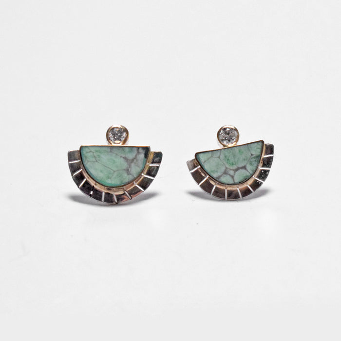Young in the Mountains Ethically-Made Fine Jewelry Stud Earring with variscite and white diamond with half moon and halo - Collyer's Mansion