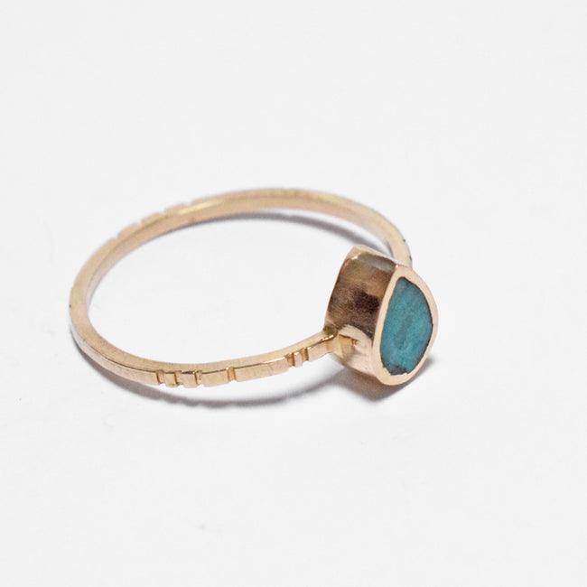 Young in the Mountains Ethically-Made Fine Jewelry Ring with chrysocolla and 14k gold band in tiny teardrop shape - Collyer's Mansion