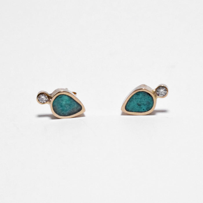 Young in the Mountains Ethically-Made Fine Jewelry Stud Earrings with chrysocolla and 14k gold and white diamonds with teardrop shape - Collyer's Mansion