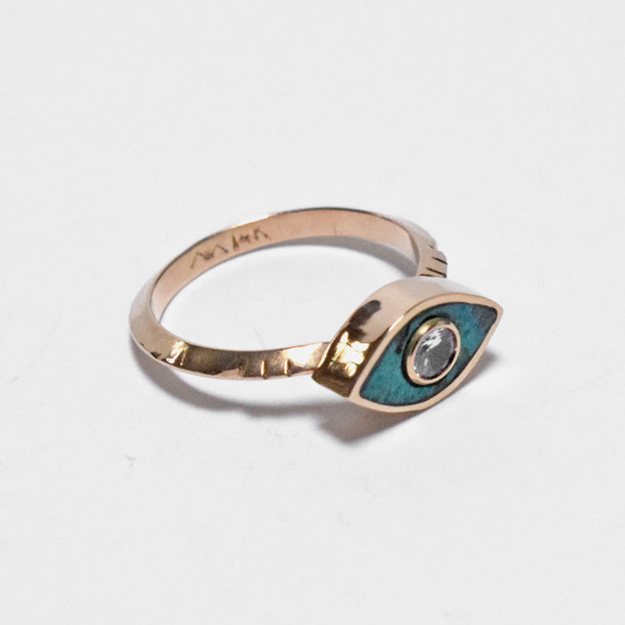 Young in the Mountains Ethically-made Fine Jewelry Ring with chrysocolla and white sapphire evil eye on 14k gold band - Collyer's Mansion