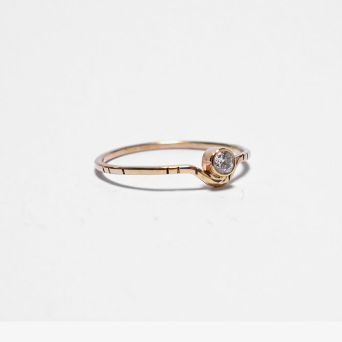 Young in the Mountains Ethically-Made Fine Jewelry Ring with white diamond and 14k gold band looking like a moon - Collyer's Mansion