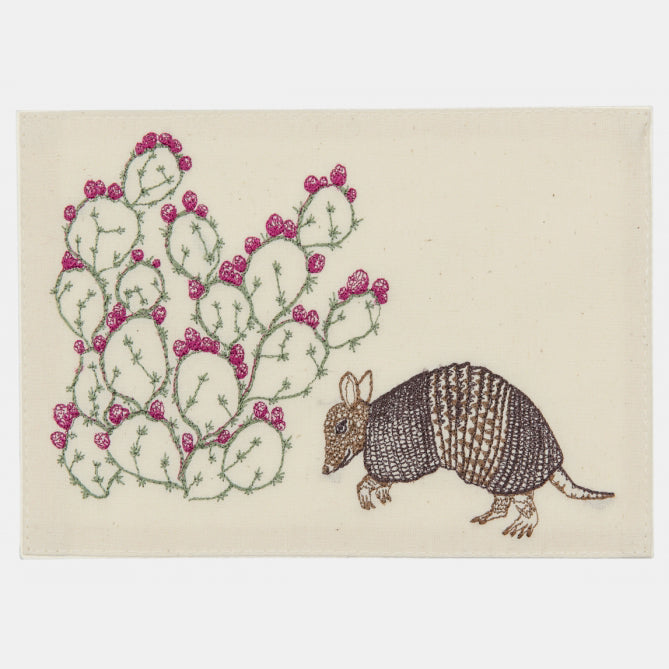Embroidered Stationery with Armadillo and Cactus.