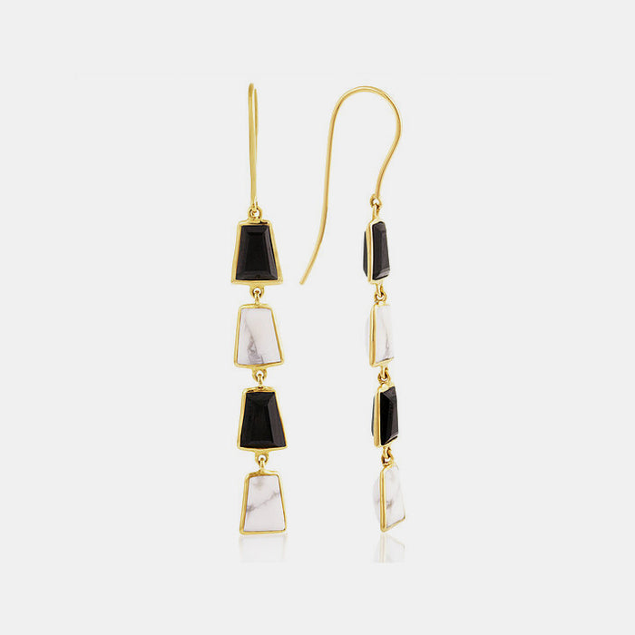Black Onyx and Howlite Inka Drop Earrings