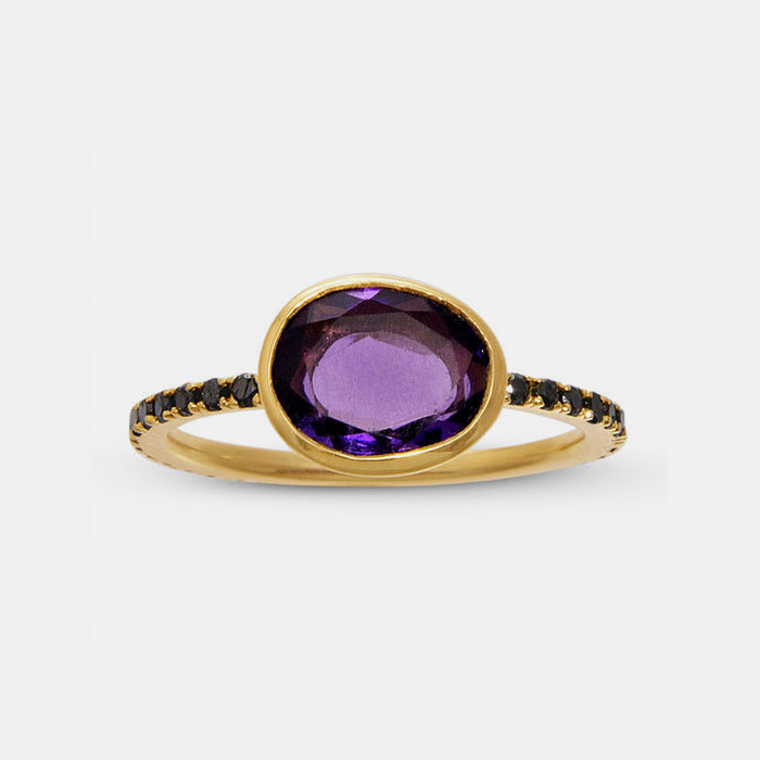 Amethyst Ring with Black Diamonds