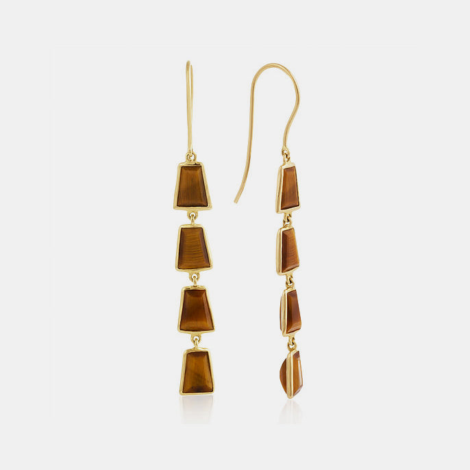 Tiger's Eye Inka Drop Earrings