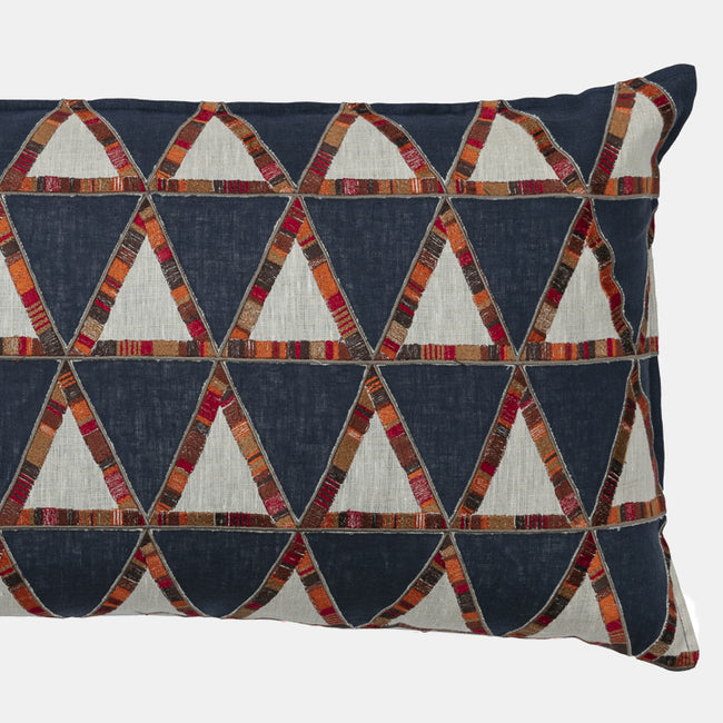 Pyramid Navy Applique Pillow, lumbar