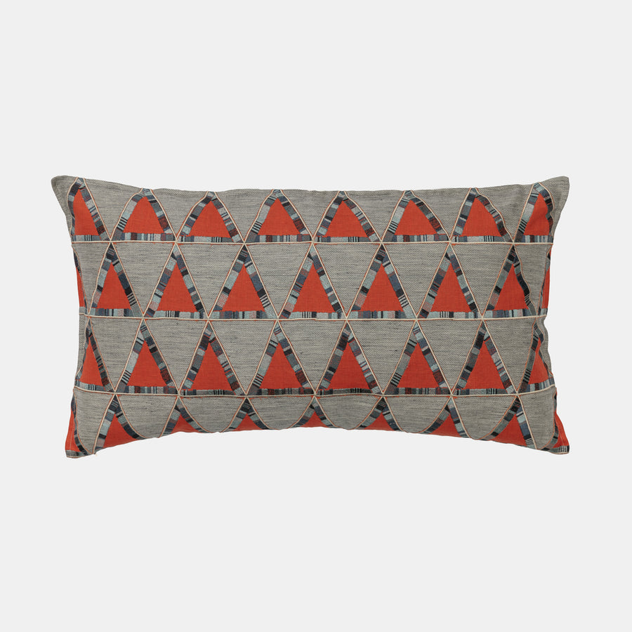 Pyramid Vermillion Applique Pillow, lumbar