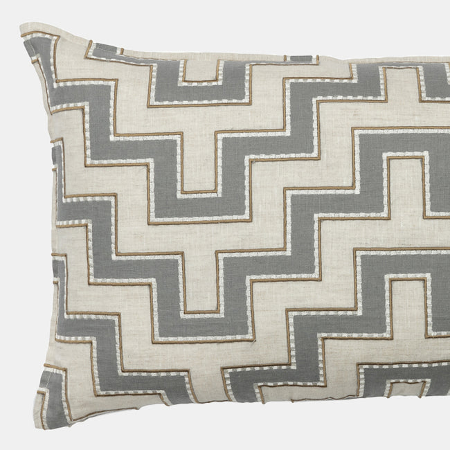 Aqueduct Grey Applique Pillow, lumbar