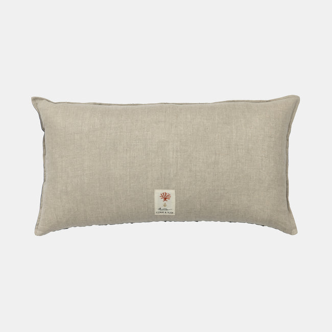 Corridor Navy Applique Pillow, lumbar