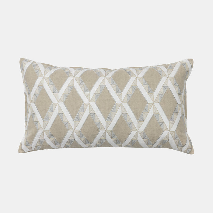 Lattice Ivory Applique Pillow, lumbar