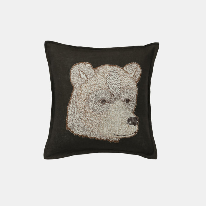 Bear Applique Pillow, square