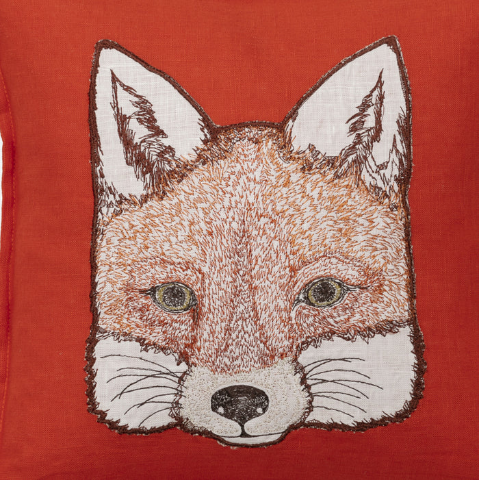 Fox Applique Pillow, square
