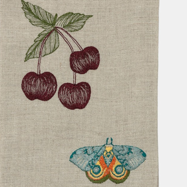 Cherries and Butterfly Tea Towel
