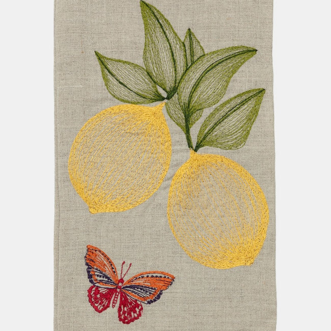 Lemons and Butterfly Tea Towel