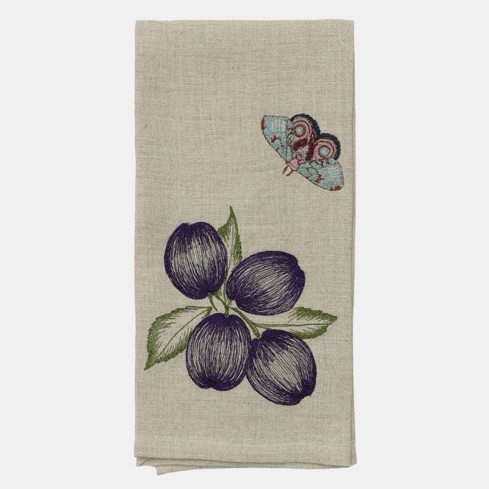Plums and Butterfly Tea Towel