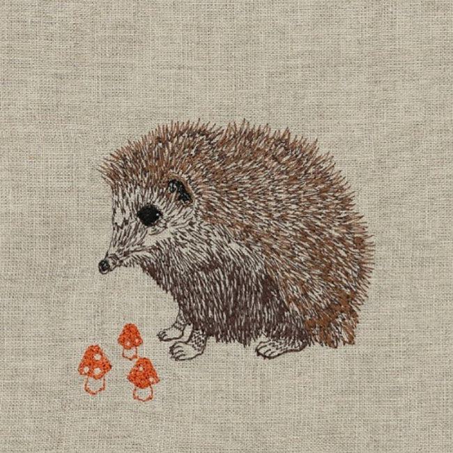 Hedgehog with Mushrooms Tea Towel