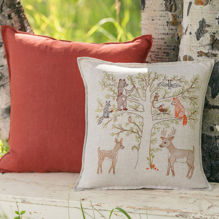 Woodland Living Tree Pillow, square