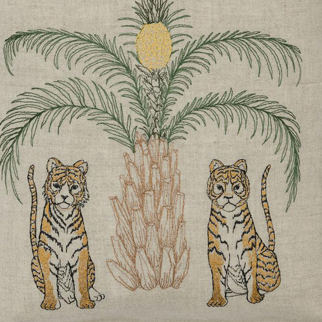 Tigers with Tree Pillow, square