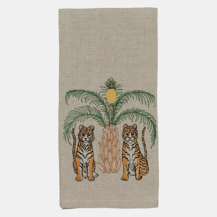 Tigers with Pineapple Palm Tree Tea Towel