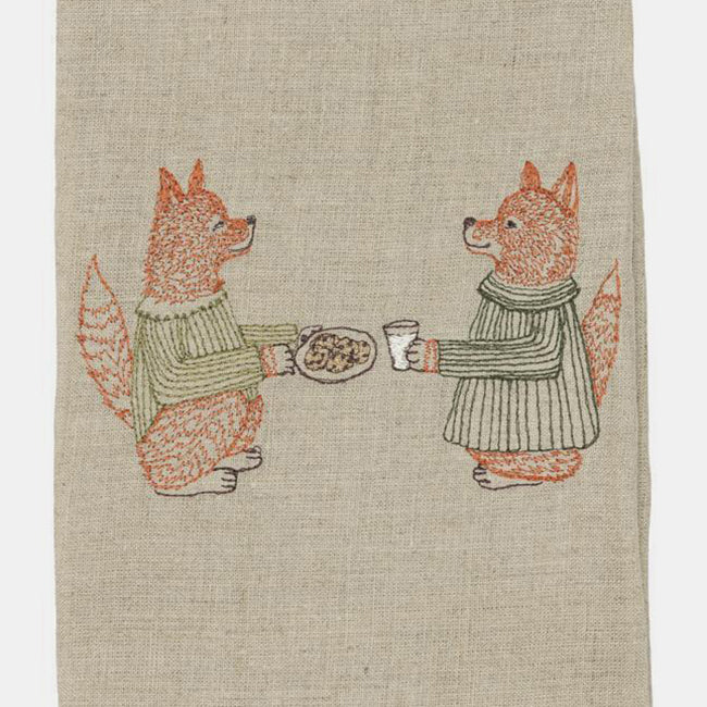 Fox Cookies and Milk Tea Towel