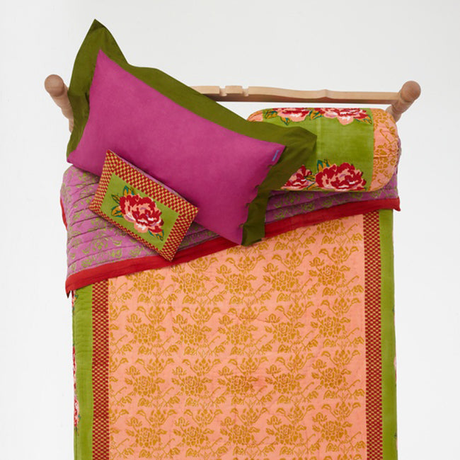 Double Peonia Acid Green Baby Pillow