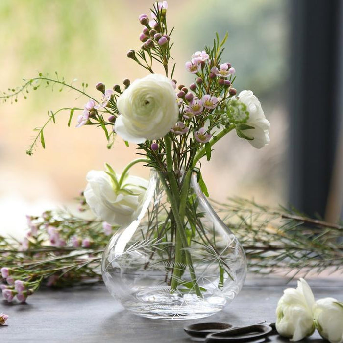 Small Crystal Vase with Ferns