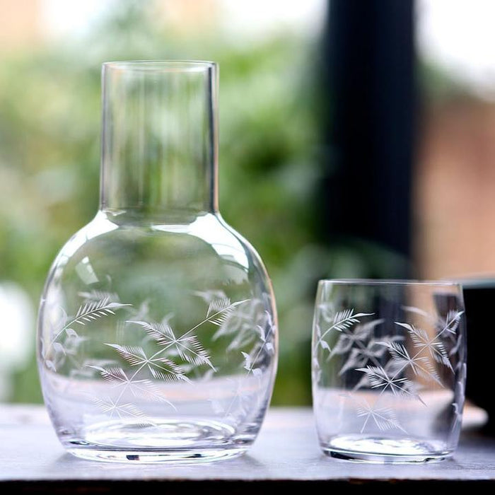 Crystal Glass Carafe with Ferns