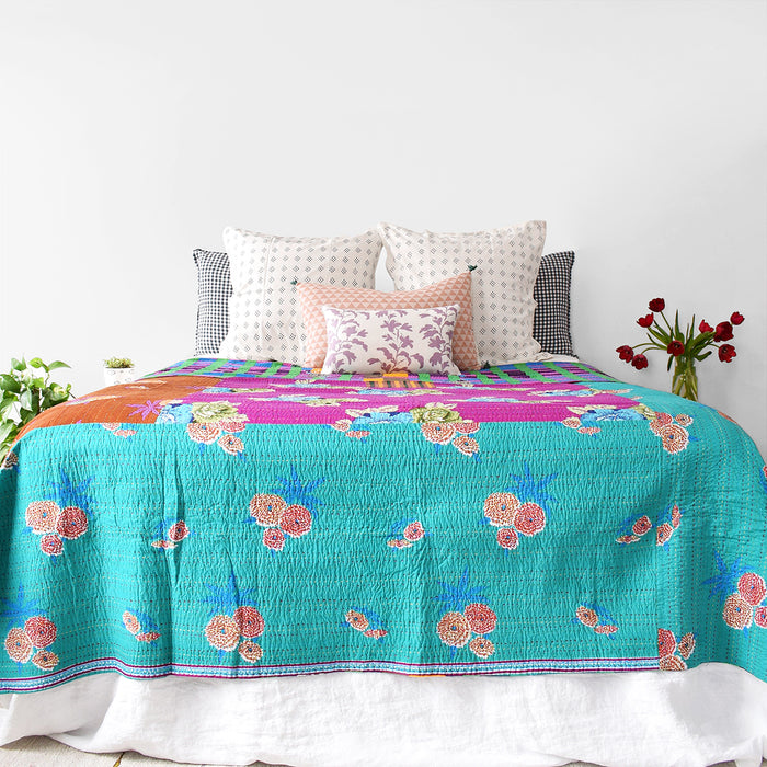 Tiger Flower Purple Gudri Bed Cover, queen