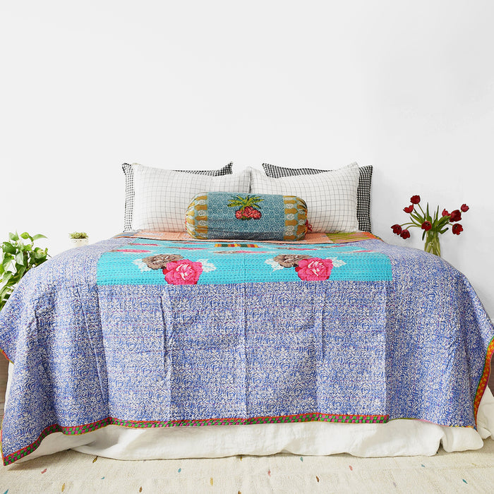 Turquoise Big Flower Gudri Bed Cover, queen