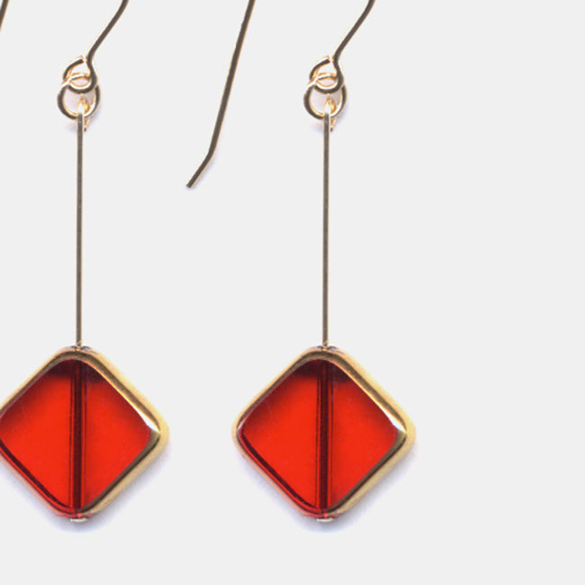 Red Diagonal Square Earrings
