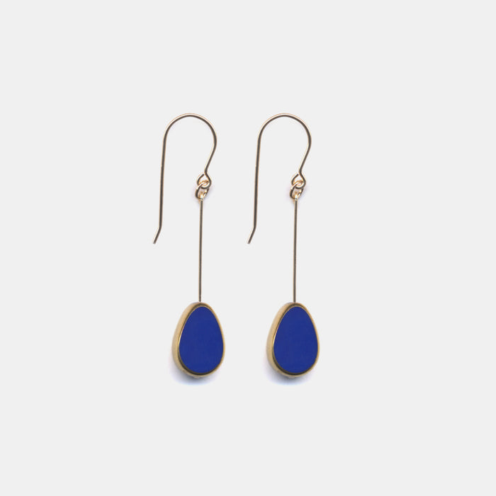 Navy Petal Drop Earrings