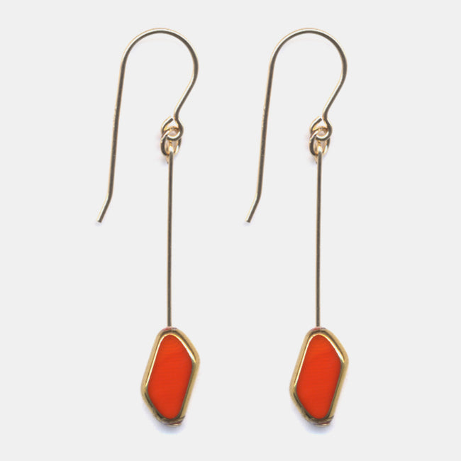 Red Rhombus Drop Earrings