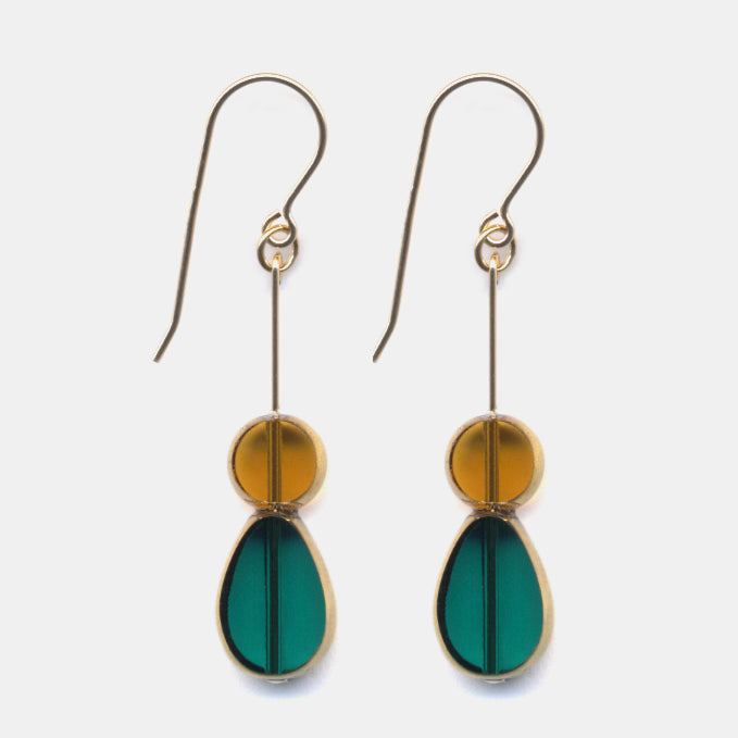 Teal Petal with Honey Drop Earrings