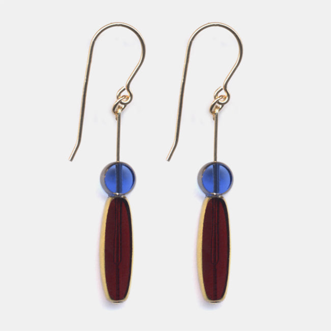 Translucent Red Ellipse with Blue Drop Earrings