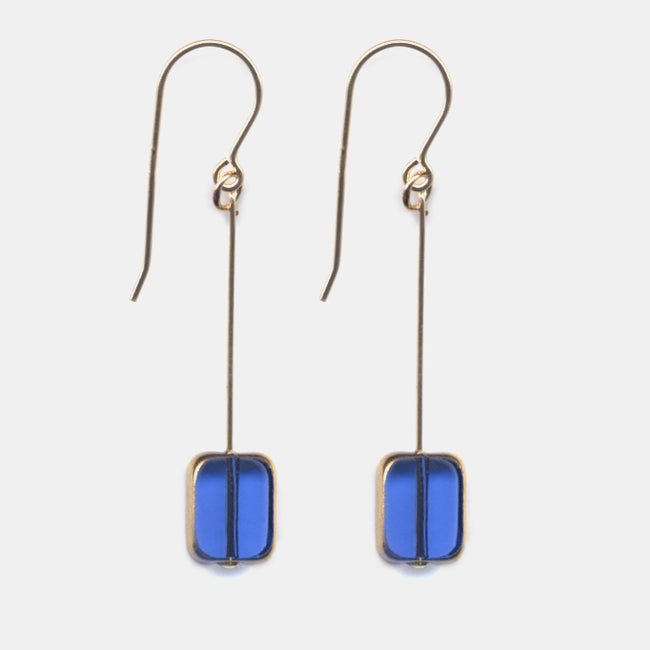 Translucent Blue Rectangle Drop Earrings