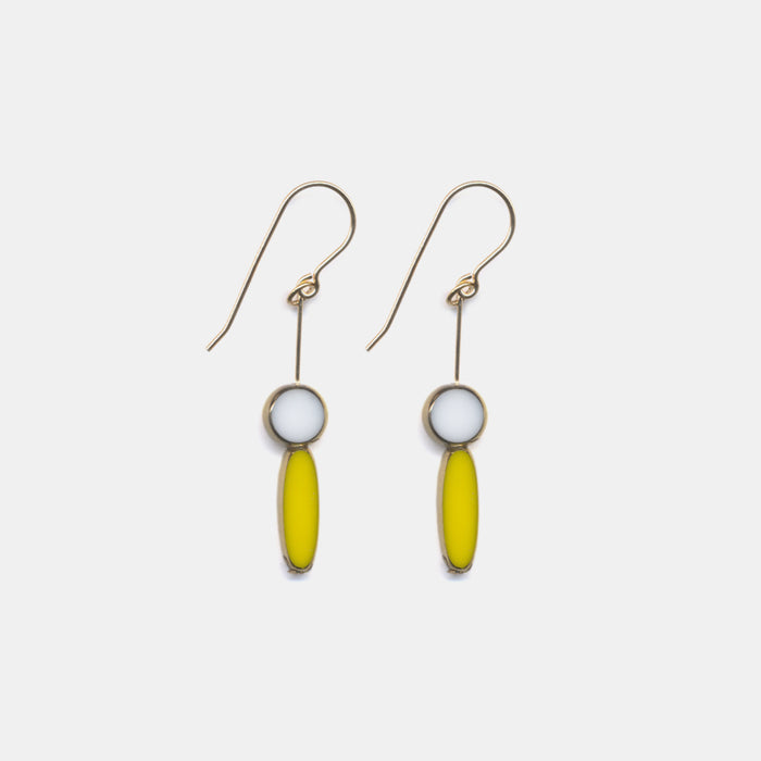 Yellow Ellipse with White Circle Drop Earrings