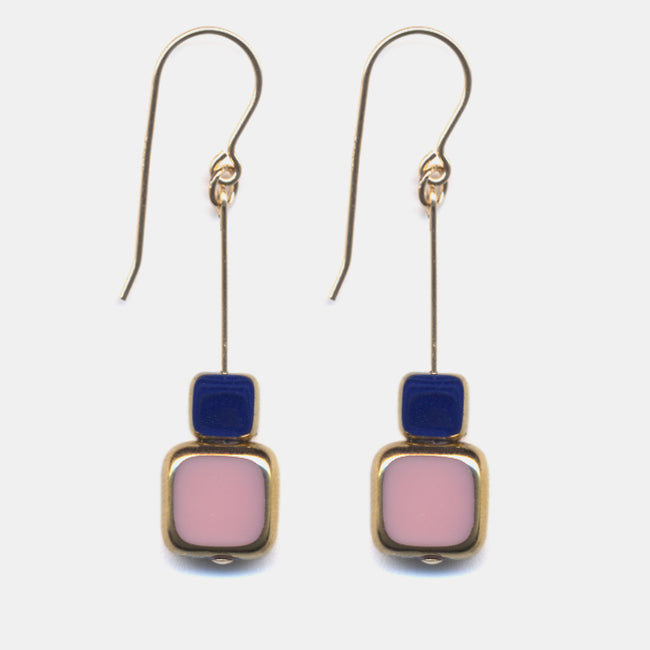 Stacked Pink Square with Navy Drop Earrings