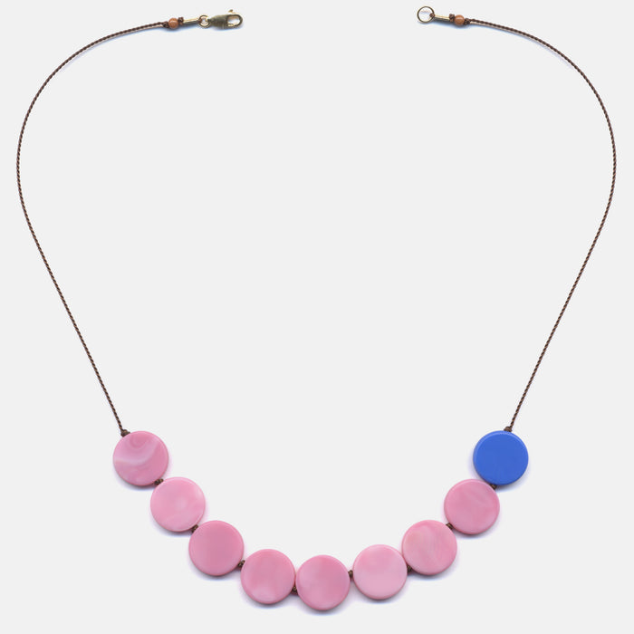Pink Discs with Blue Necklace