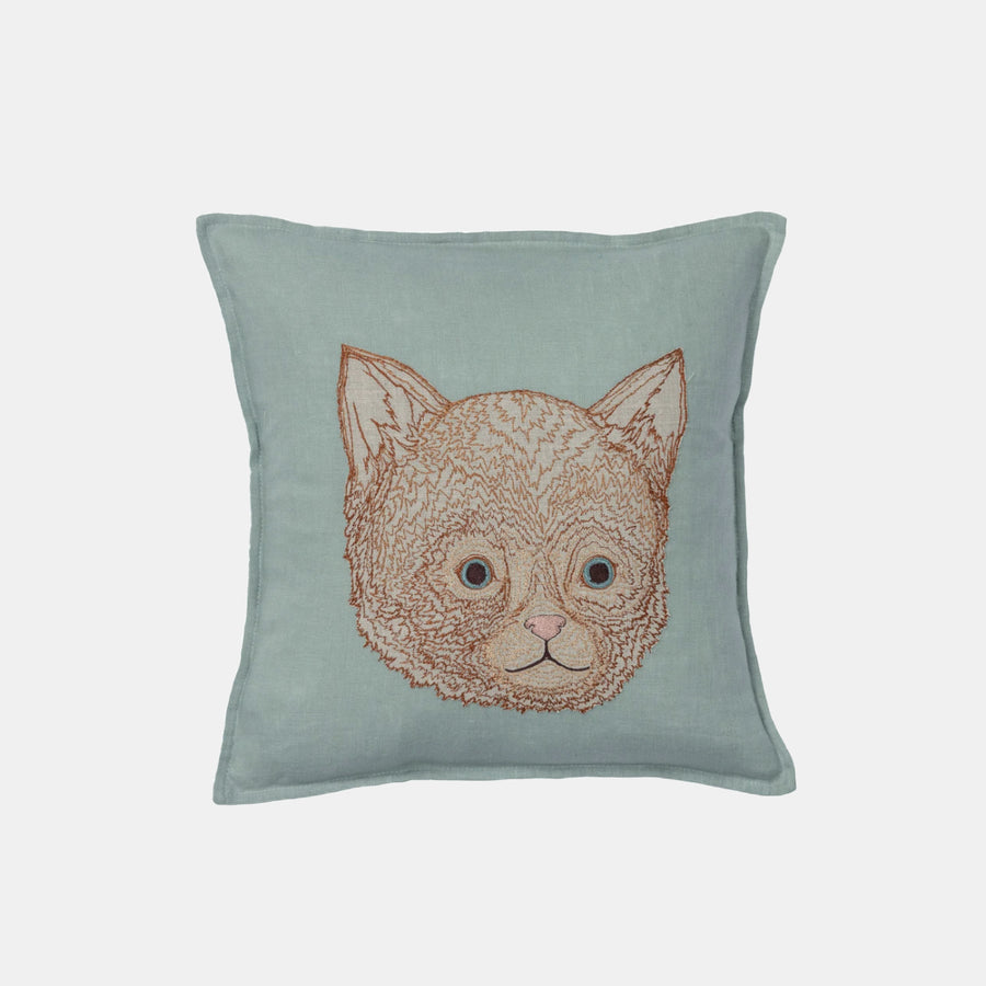 Kitten Applique Pillow, square