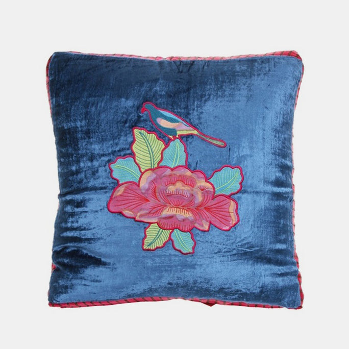 Flower Blue Velvet Pillow, square