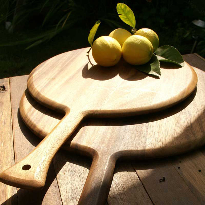 Medium Round Acacia Wood Board with Handle