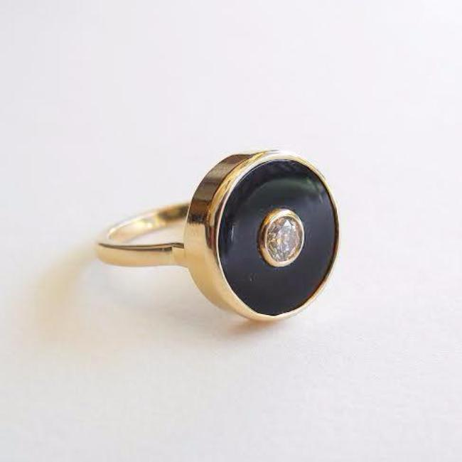 Diamond and Onyx Europa Ring
